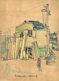 塙田町に所在していた頃の工場のスケッチ